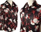 Vintage 70s Shirt Mens Mod Disco Bold Floral Novelty Print L