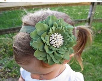 Flower Headband, Moss / Dark Sage Flower w/ Pearl & Crystal Flower Center Headband or Hair Clip, The Eva, Baby Toddler Child Girls Headband