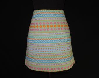 1960s mod mini skirt vintage pastel zig-zag and dot wool short skirt small