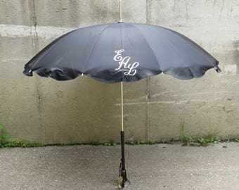Monogrammed Antique Umbrella Black Parasol Vintage Curved Lucite Tortoise Shell Handle Mary Poppins Umbrella- FREE Domestic Shipping
