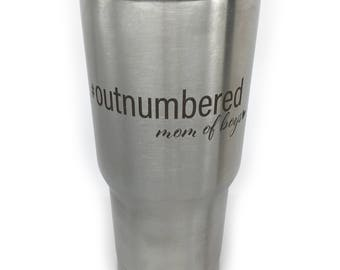 Outnumbered Tumbler Mom Of Boys Mothers Day For Mom For Her Best Mom Ever Mama Blessed Mom Lucky Mom Mom Life 20 oz Tumbler Gift For Mom