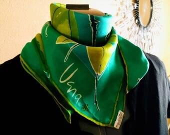 Vintage Vera Neumann 1960s Green Floral Silk Scarf
