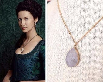 LAST ONE! Claire Fraser Randall Outlander White Gold Druzy Quartz Poison Detector Necklace