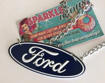 Retro Ford  Lover's Necklace -- Tin Sign Replica Necklace by Sparklelicious