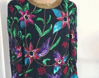 40% OFF Christmas in July Vintage Silk Beaded and Sequin Blouse - Top -- Size M-L