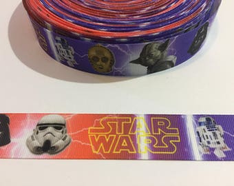 3 Yards of Ribbon 1 inch Wide - Inspired by Star Wars Yoda Darth Vader Storm Trooper