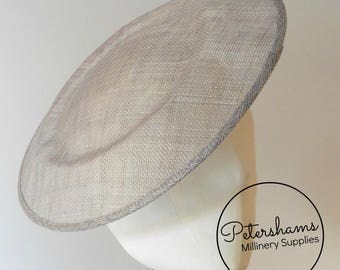 Extra Large 29cm Round Saucer / Plate Sinamay Fascinator Hat Base for Millinery - Pewter Grey
