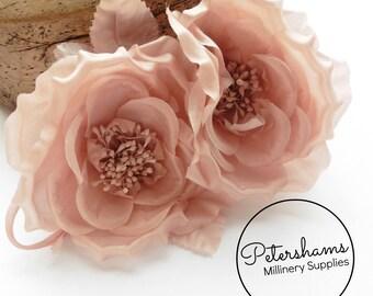 Silk 'Fiona' Double Rose Millinery Fascinator Flower Hat Mount - Blush