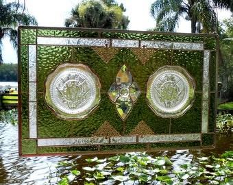 Depression Glass Stained Glass Panel, 1930s Iris and Herringbone Plates, Stained Glass Transom Window w/ Vintage Plates, Antique Window Art