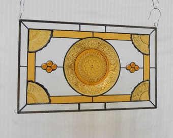 Stained Glass Window Panel Recycled Vintage Tiara Sandwich Glass Plates, Stained Glass Transom Window, Handmade Antique Glass Window Valance