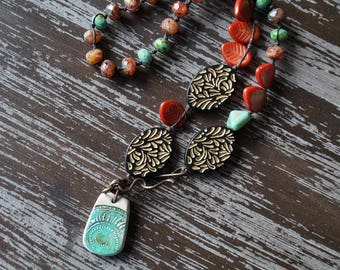 Leaf Necklace - Autumn Boho - Fall Leaf Necklace - Woodland Necklace - Turquoise and Orange - Bead Soup Jewelry