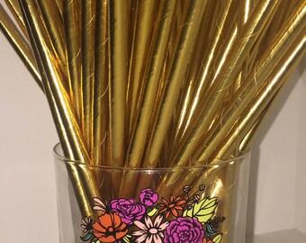 GOLD METALLIC STRAWS -