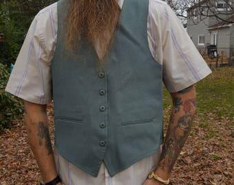 Mens Vest, 70s Vest, Vintage Vest, Plaid Vest, Green Vest, 70s Costume, Vintage Costume, Reversible Vest, Suit Vest, Mens Vintage Vest