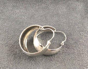 Wide Sterling Silver Hoop Earrings Brushed Vintage