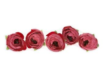 5 Dark Mauve Pink Camillia Buds - Artificial Flowers, Silk Flowers