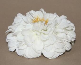 Soft White Zinnia - Artificial Flower Head, Silk Flower