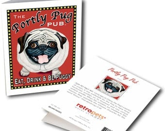 """Pug Art """"Portly Pug"""" 6 Small Greeting Cards by Krista Brooks"""