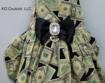 Money Dog Dress, Dollar Bill Dog Harness, Small Dog Clothes, Fancy Dog Dress, Large Dog Dress, Puppy Clothes