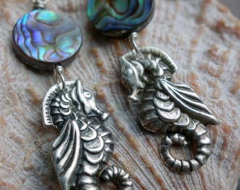 Vintage Seahorse Sterling Abalone Earrings Mexico