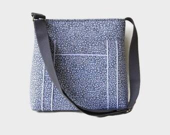 Gray Crossbody Bag Purse - Fabric Handbag - Gray White Shoulder Bag - Outside Pocket - Womens Messenger Bag - Medium Handbag