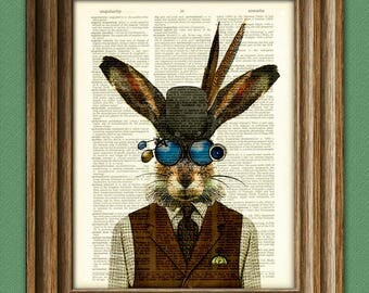 Jackrabbit Jim the Steampunk Bunny Rabbit illustration beautifully upcycled dictionary page book art print