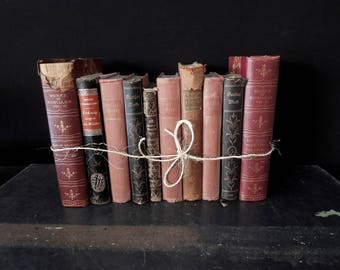 Ten Antique Ornate Books by the Foot  - Burgundy Dusty Rose Brown Gilt - Rustic  Books for Decor - Vintage Book Stack - Bookshelf Decoration