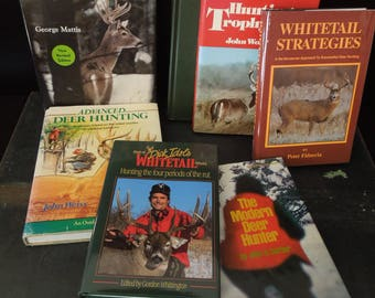 Whitetail Deer Books - Hunter Sportsman Book Stack -  Vintage Outdoors Man Cave Lodge Cabin Decor - Literary Gift