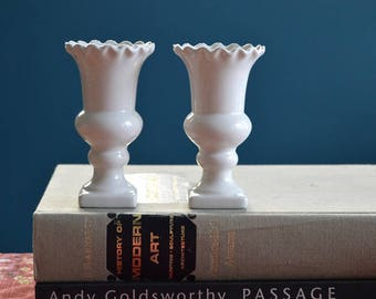 Vintage Pair of Small White Ceramic Vases