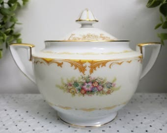Vintage Noritake Covered Sugar Bowl, Pink Green Floral Spray, Gold Scrollwork, Gold Handles. Eclectic, Boho, Mix & Match entertaining.