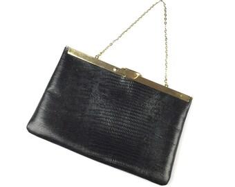 Vintage Black Etra Clutch Handbag Genuine Leather