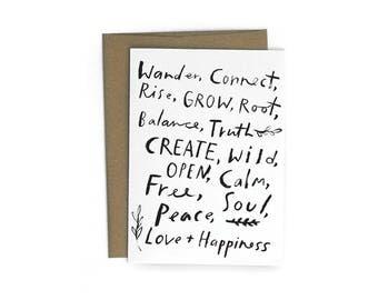Peace, Love + Happiness A6 Single Card