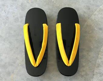 yellow velvet geta sandals with black soles - 1211427