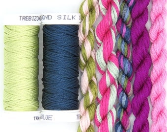 Free Design, PDF, Silk thread, needlepoint design, silk fibers, embroidery thread assortment, pink, green, hand dyed thread, holiday gift