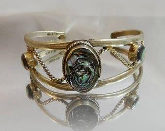 SALE Vintage Mexican Abalone Bracelet.  Abalone Alpaca Silver Cuff.