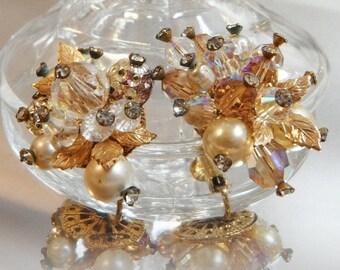 SALE Vintage Vendome Crystal Earrings. Gold Leaves. Faux Pearls. Rhinestones.