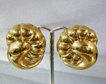 SALE Vintage Vogue Bijoux Earrings.  Bold Gold Knot Earrings. Gold Plated Vogue Bijoux Earrings.