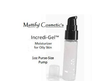 Moisturizer for Oily Skin by Mattify Cosmetics Incredi-Gel Light Weight Moisturizer Aloe Vera Gel Based (1oz Pump Size)