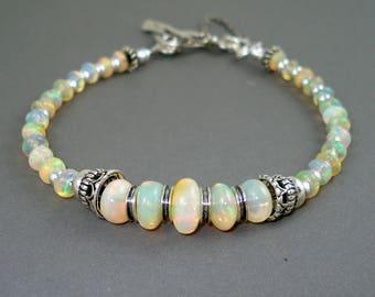 Opal Bracelet, Large Colorful Opals, Ethiopian Fire Opals and Oxidized Sterling Silver Bracelet, Fire Opal Jewelry