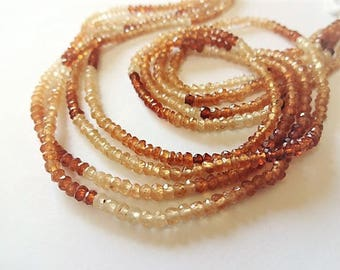 "Take 15% off with 15OFF20, Hessonite Garnet Faceted Rondelles, 3mm, 1/4 Strand (3.5"" long), caramel, rust, tan, neutral, natural gemstones"