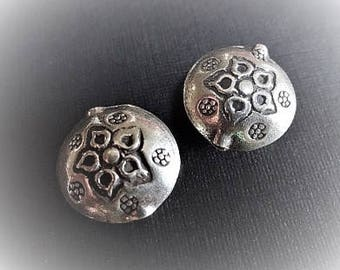 1 Karen Hill Tribe Fine Silver Puffed Flower Bead, 12mm, unique artisan-made beads and supplies, DIY supplies