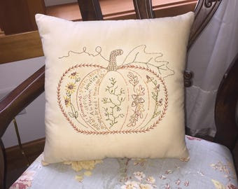 Fall Halloween Pumpkin Pillow - Primitive Autumn Embroidery Pillow - Pillow Tuck - Farmhouse Decor - Orange Plaid - Hand Embroidered