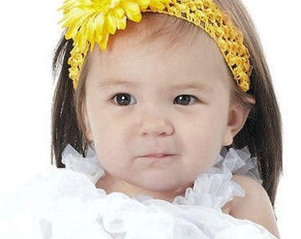 Boutique Yellow Gerbera Daisy Flower with Rhinestone Center Crochet Headband  Great for Newborn Infant Baby Toddler  and Big Girls