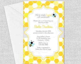 PRINTED Bumble Bee Honeycomb Invitation, 5 x 7, Birthday, Bee-Day, Baby Shower, Ba-Bee,Bridal Shower,Meant to Bee,Customized w/ Your Wording
