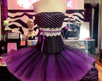 Size Medium black and ivory polka dot corset Prom dress with purple tulle skirting - READY TO SHIP