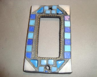 MOSAIC Outlet Cover or Switch Plate, GFI Decora, Shades of Blue, Off-White, Gold