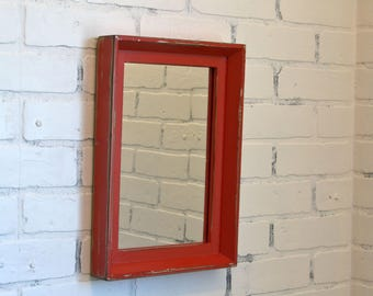 Entryway Mirror Upcylced Frame with Vintage Red Finish - Outside Dimensions 10.5 x 14.5 inches - IN STOCK - Same Day Shipping