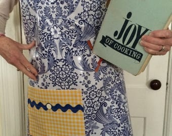 The Monet apron---Retro oilcloth in blue and yellow