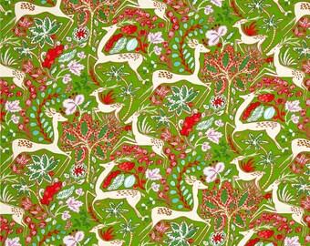WinterLand Christmas Holiday Fabric Reindeer Poinsettias on Green