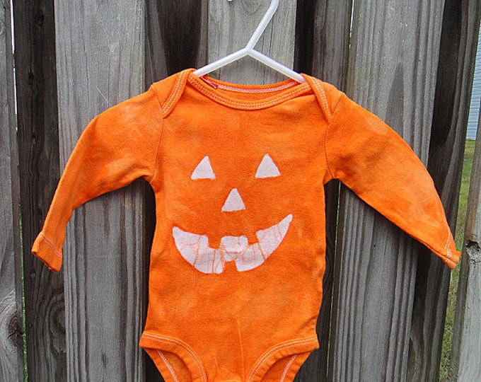 Featured listing image: Halloween Baby Bodysuit, Baby Halloween Costume, Jack o Lantern Baby Bodysuit, Pumpkin Halloween Costume, Halloween Baby Shirt