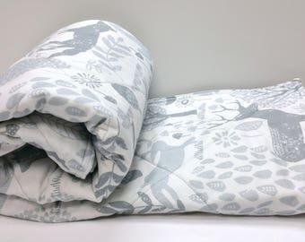 Baby Quilt-Baby Quilts-Woodland Animals Crib Bedding-Gray-Grey-Forest Nursery-Baby Shower-Blanket-Deer-Fox-Bunny Rabbit Baby Blanket